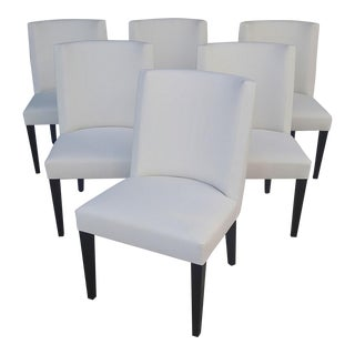 Curved Back Custom Made Dining Chairs- Set of 6 For Sale