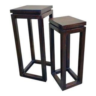 "Hardwood Dark Brown 29"" Square Space Saving Boho Nesting Tables - Set of 2 For Sale"