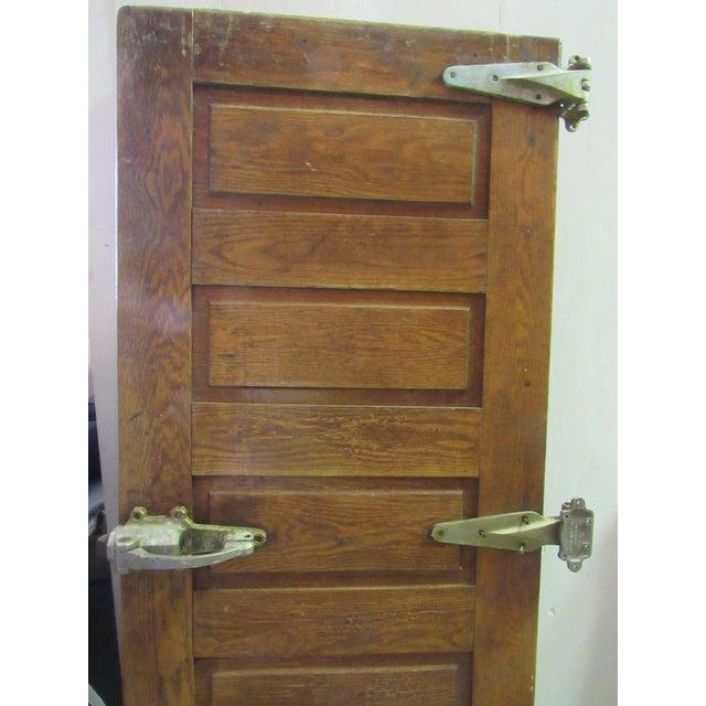 Wonderful antique/vintage architectural salvage 5 panel oak refrigerator locker door. All original hardware, hinges and...