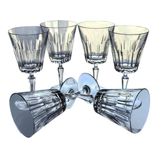 1960s Vintage Val St Lambert Cut Crystal Wine Glasses - Set of 6 For Sale