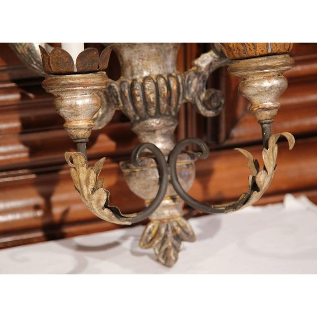 Metal Italian Carved & Metal Two-Light Sconces With Silver Leaf Finish - A Pair For Sale - Image 7 of 8