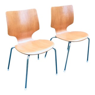 Vintage Teak Danish Modern Stacking Dining Chairs For Sale