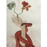 Image of Snake With Hand Holding a Nasturtium Drawing For Sale