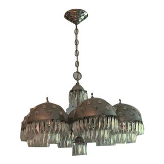 French 20th Century Stilnovo Style Crystal Orb Eyeball Chandelier For Sale