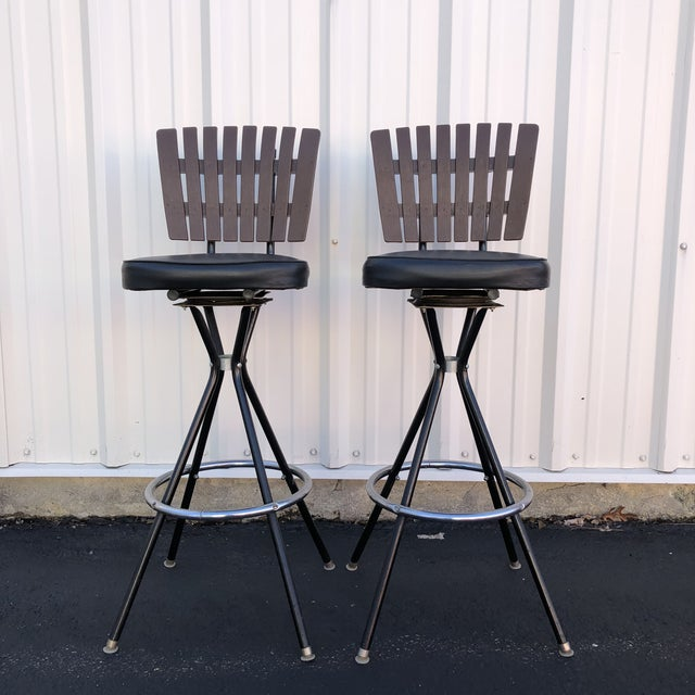 Mid-Century Modern Swivel Bar Stools- A Pair For Sale - Image 11 of 11