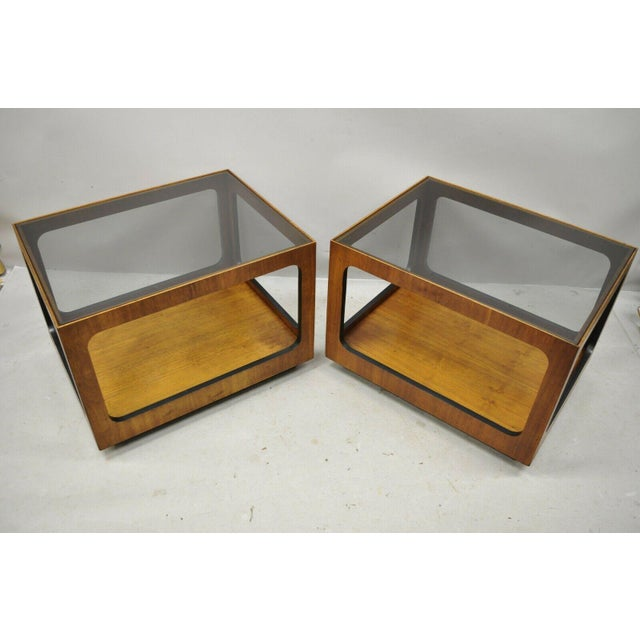 Mid Century Modern Lane Walnut Smoked Glass Modernist End Tables - a Pair For Sale - Image 11 of 12