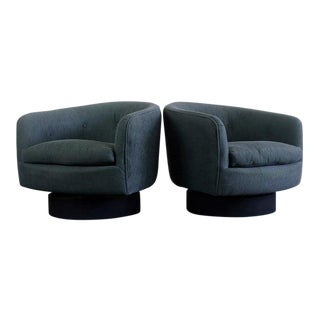 Set of Swivel Tub Chairs Attributed to Milo Baughman for Thayer-Coggin For Sale