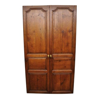 19th Century French Louis XVI Oak Interior Double Doors - Set of 2 For Sale