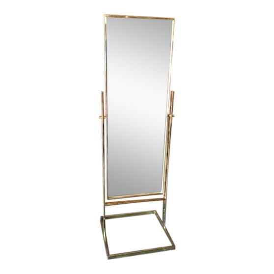 Vintage Milo Baughman Style Brass Floor Mirror | Chairish