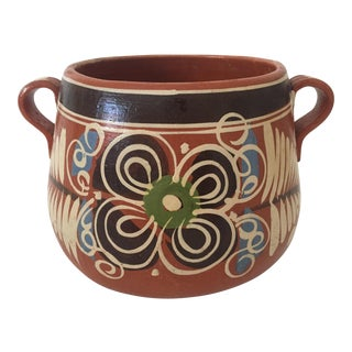 Vintage 1960s Handmade Mexican Terra Cotta Art Pottery Hand Painted Ceramic Planter Urn For Sale