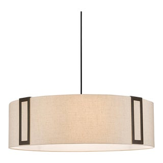 Penny Bronze Suspended Pendant Light With Linen Frame and Bottom Light Diffuser For Sale
