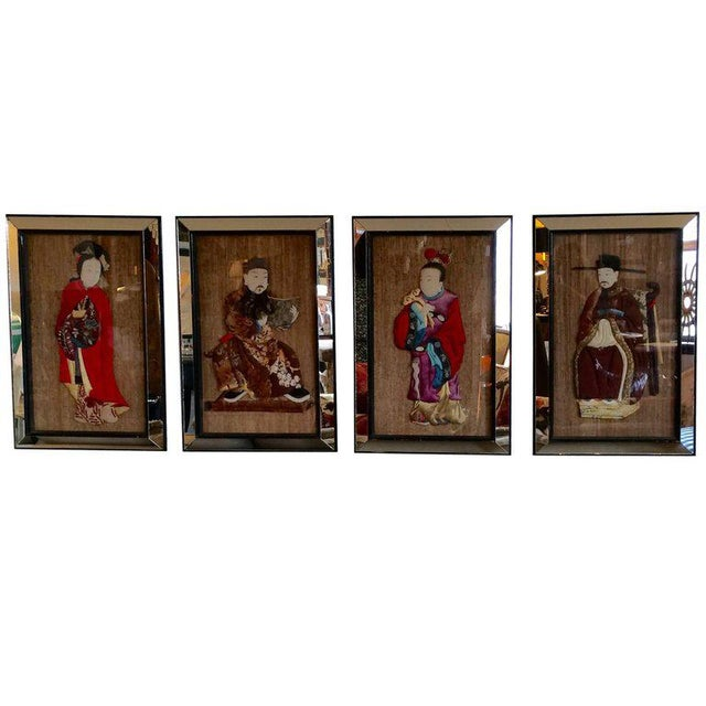 Quilted Asian Ancestors in Glitzy Mirrored Frames - Set of 4 For Sale - Image 11 of 11