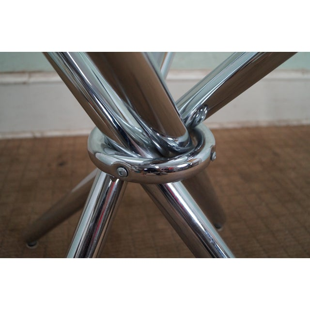 Mid-Century Modern Chrome Leg Glass Top Table For Sale - Image 5 of 10