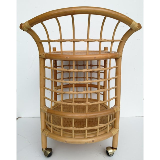 1970's Rattan 2-Tier Bar Cart with Swivel Casters - Image 5 of 8