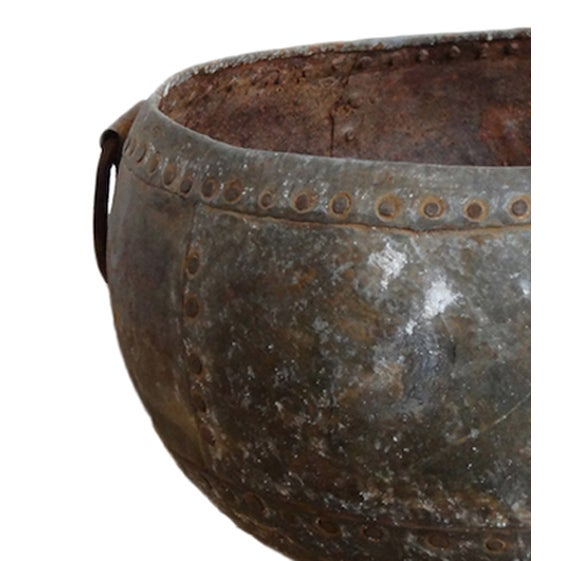 Rustic Riveted Iron Bowl - Image 2 of 2