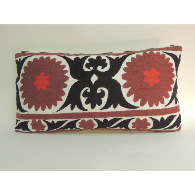 Vintage Brown and Black Artisanal Suzani Embroidery Decorative Bolster Pillow For Sale In Miami - Image 6 of 6
