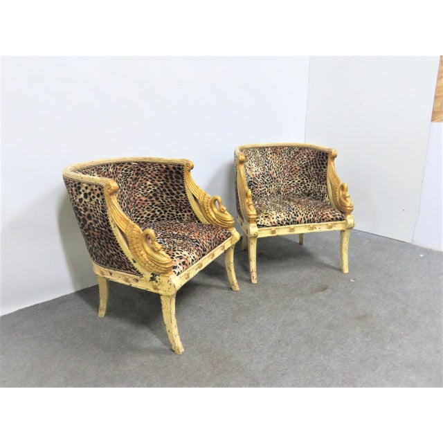 French French Style Swan Carved Cream & Gilt Bergeres- a Pair For Sale - Image 3 of 8