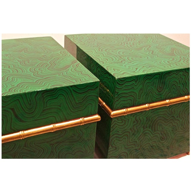 Faux Malachite Boxes - a Pair For Sale - Image 4 of 8