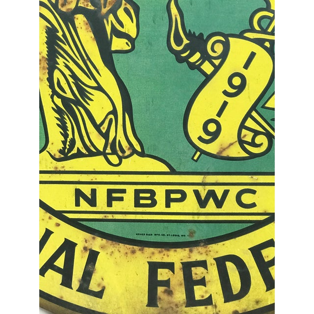 Americana 1920s Art Deco National Federation of Business and Professional Women Club Metal Sign For Sale - Image 3 of 5