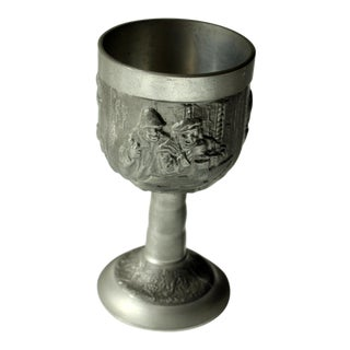 1960s Pewter Goblet Decorated in Relief For Sale
