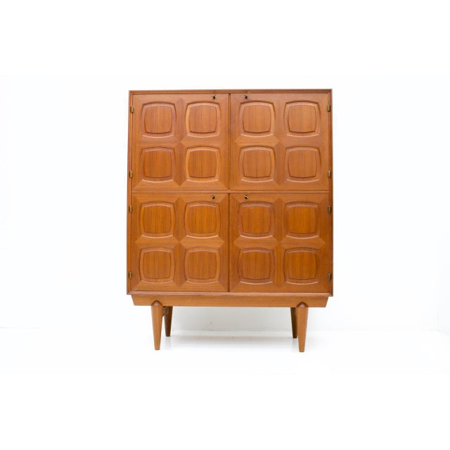 Brass Graphic Teak Highboard by Rastad & Relling for Bahus, Norway 1960s For Sale - Image 7 of 7