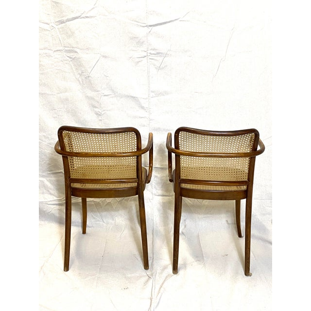 Wood Rare Antique Stendig Set of 4 Bentwood French Stitched Nylon Cane Wood Dining Chairs For Sale - Image 7 of 13