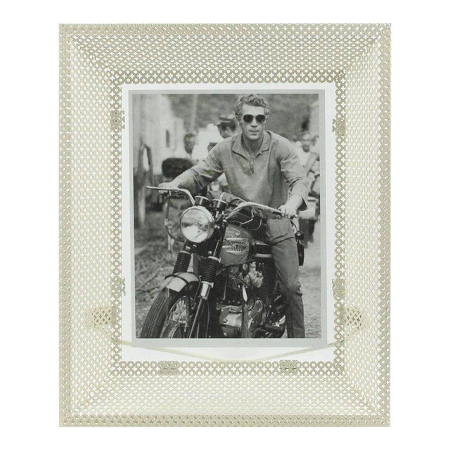 Mathieu Mategot White Perforated Metal Picture Photo Frame For Sale