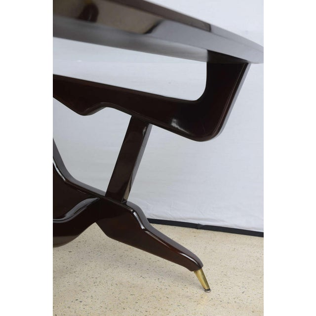 1950s Rare Italian Modern Dark Walnut and Brass Writing/Centre Table, Gian Casè For Sale - Image 5 of 8