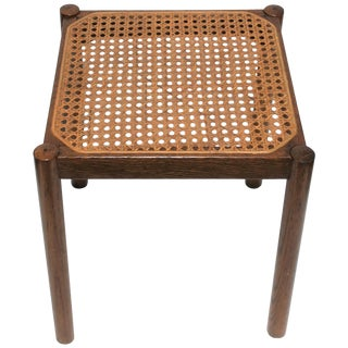 Square Cane and Wood Side Table, Circa 1960s For Sale