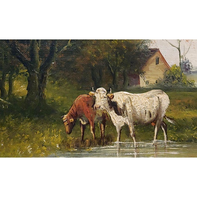 19th Century Jaques Durant -Landscape W/ Cows-Impressionist Oil Painting-C1860s For Sale - Image 5 of 10