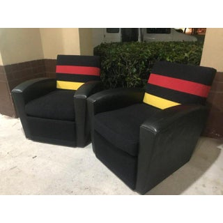 """Pair of Rose Tarlow Leather and Striped Wool """"Emile"""" Swivel Chairs Preview"""
