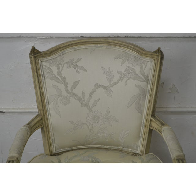 French French Louis XVI Style Vintage Custom Paint Frame Fauteuil Arm Chair For Sale - Image 3 of 13