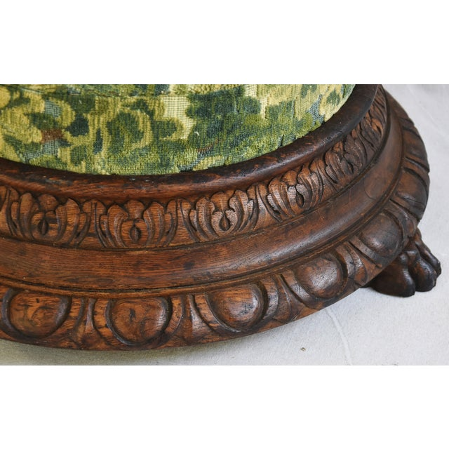 Early Carved 1900s Foot Stool w/ Scalamandre Marly Velvet Fabric For Sale In Los Angeles - Image 6 of 11