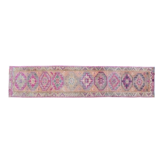 Hand-Knotted Distressed Tribal Halway Runner For Sale