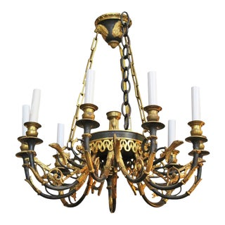 French First Empire Style Bronze Chandelier For Sale