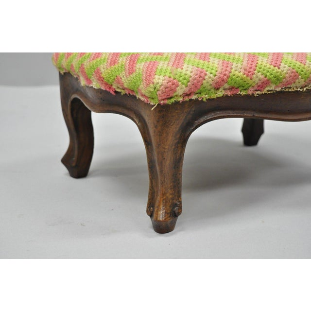Early 20th Century Antique Louis XV Style Walnut Footstool For Sale - Image 4 of 12