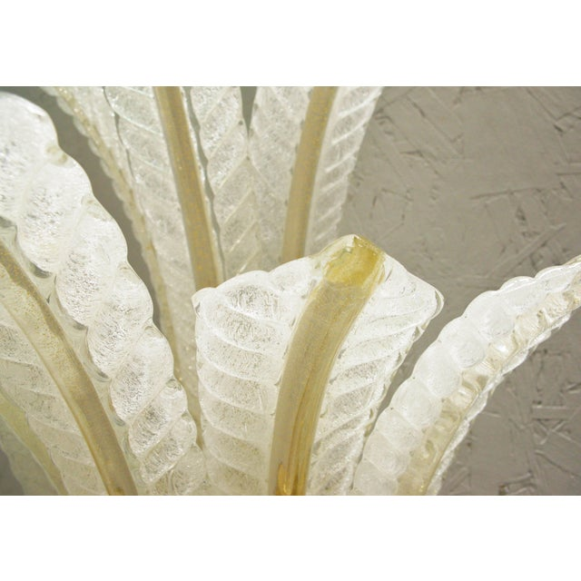 Brass 1960s Italian Barovier E Toso Frosted Murano Glass Leaves Sconce For Sale - Image 8 of 10