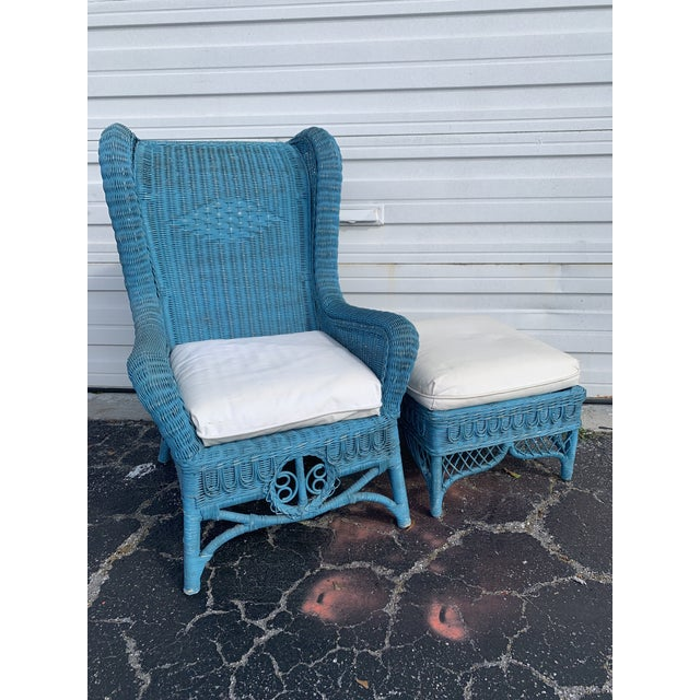 Victorian Vintage Polo Ralph Lauren Wicker Chair and Ottoman For Sale - Image 3 of 13