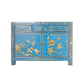 Distressed Golden Graphic Blue Credenza Sideboard Buffet Table Cabinet For Sale