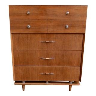 1960s Mid Century Modern Five Drawer Highboy Dresser For Sale