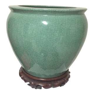1970s Vintage Green Ceramic Pot Planter For Sale