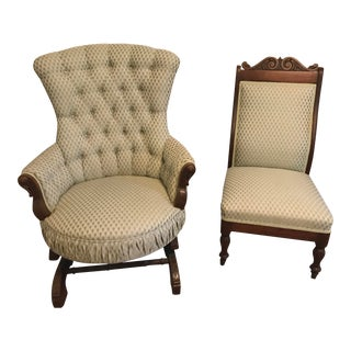 Early 20th Century Victorian Slipper and Rocker Chairs- A Pair For Sale