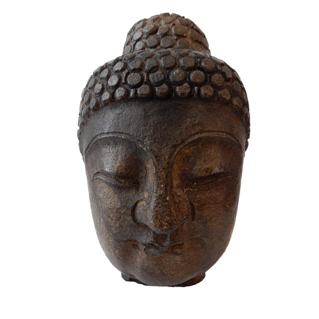 Hand Carved Stone Buddha Head - Image 1 of 5