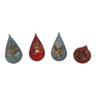 Vintage Plastic Scene Ornaments - Set of 4 For Sale