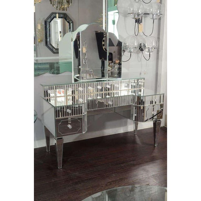 Modern Custom Mirrored Vanity with Tryptic Mirror and Baguette Detailing For Sale - Image 3 of 8