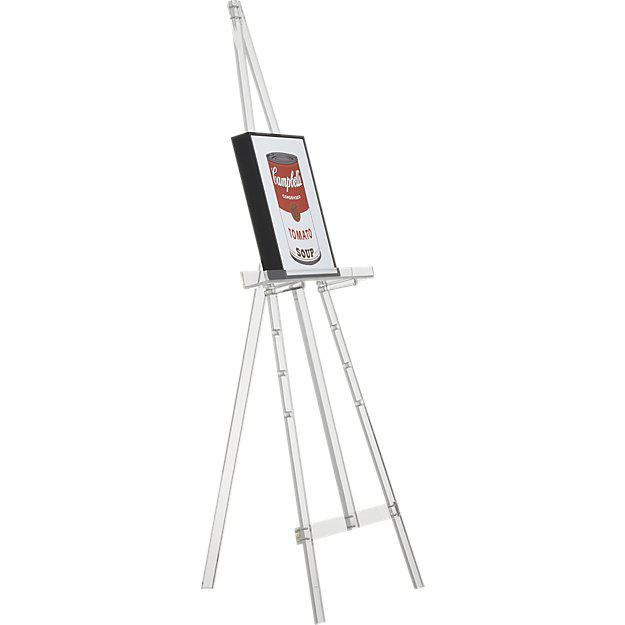 Transparent acrylic easel disappears to float paintings, posters, framed media Acrylic pegs adjusts five levels to curate...