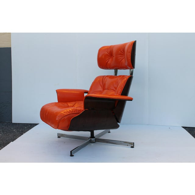 Mid-Century Modern Orange Leather Recliner - Image 7 of 11