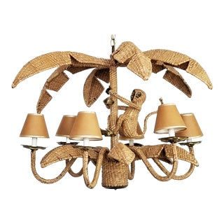 Mario Lopez Torres Monkey Chandelier - Signed and Dated 1974 - Restored - Raffia Brass Iron - Palm Beach Boho Chic Tropical Coastal For Sale