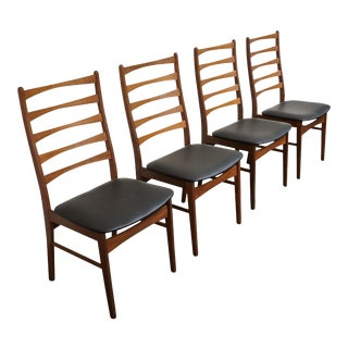 "Original Danish Mid Century Modern Teak Tall Back Ladder Chairs - Set of 4 - ""Auning"" For Sale"