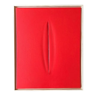 Red Slice Modern Art Painting by Tony Curry For Sale